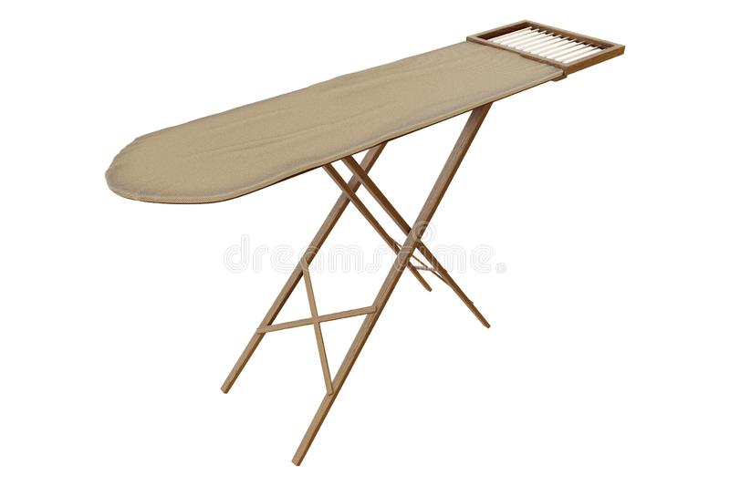 3d rendering of the old vintage wooden ironing board isolated on white background with clipping paths. royalty free illustration