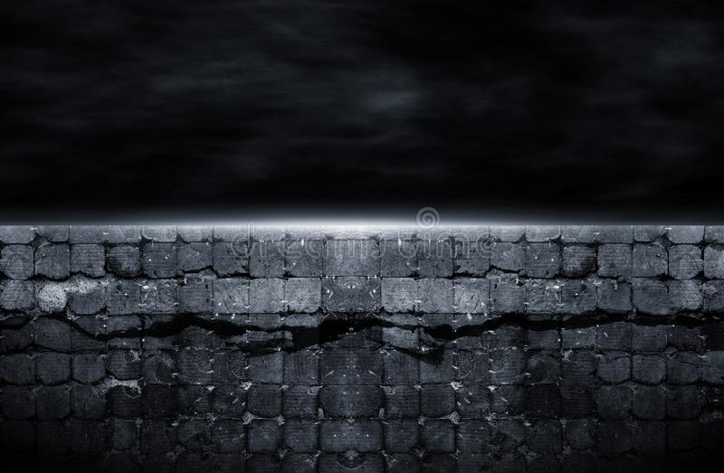 3d Rendering The Old Wall Was Cracked At Night Stock