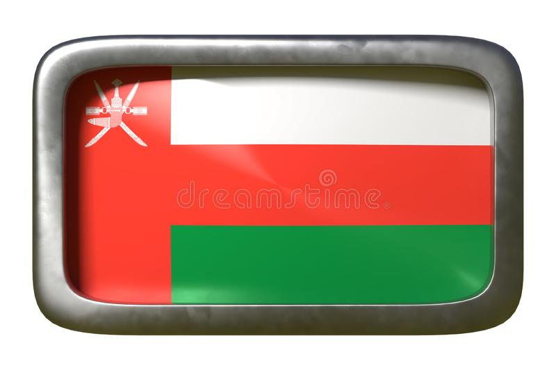 Oman flag sign. 3d rendering of an Oman flag on a rusty sign isolated on white background stock illustration