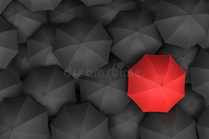3d rendering of open bright red umbrella towering over an endless amount of similar black umbrellas. stock illustration