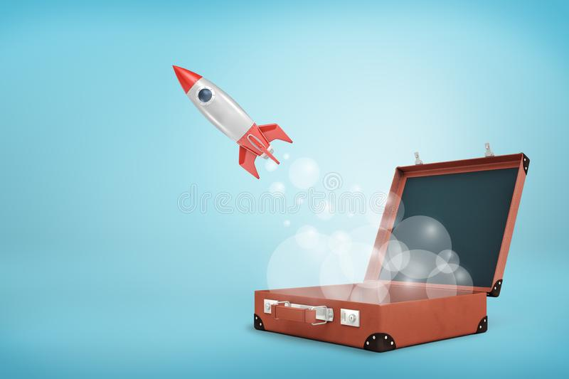 3d rendering of an open brown case and a space rocket flying out leaving clouds of transparent smoke behind. Space exploration. Flight of fancy. Power of royalty free stock image