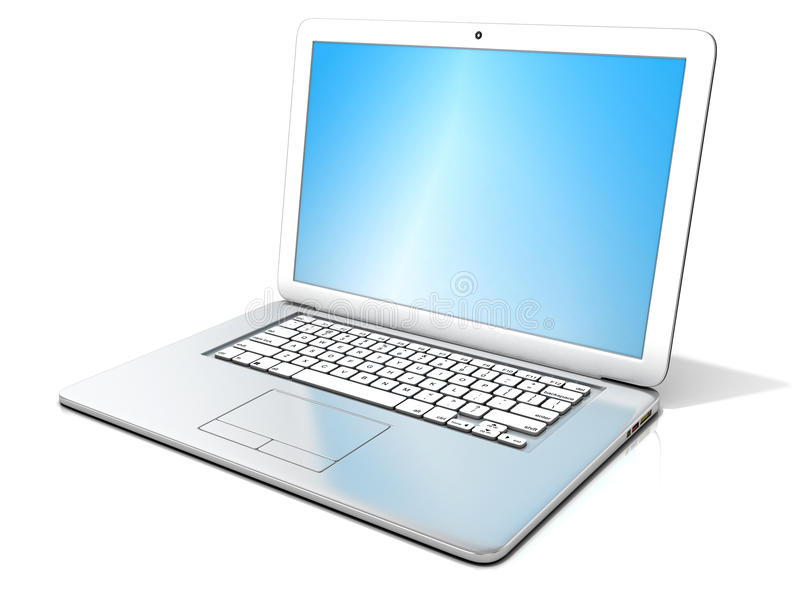 3D rendering of a open silver laptop with blue screen royalty free illustration