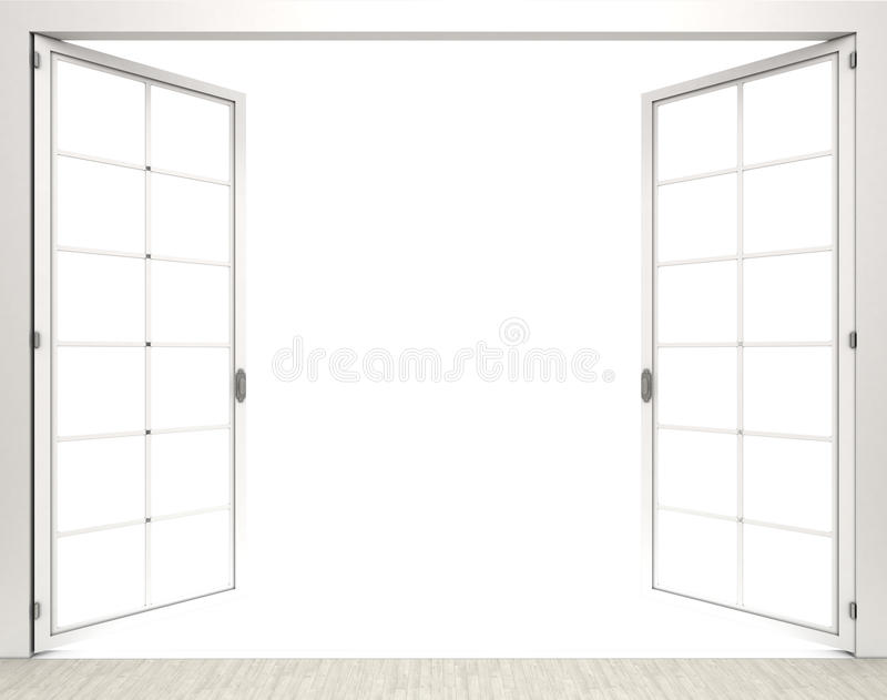 3d rendering open white window on white background royalty free illustration