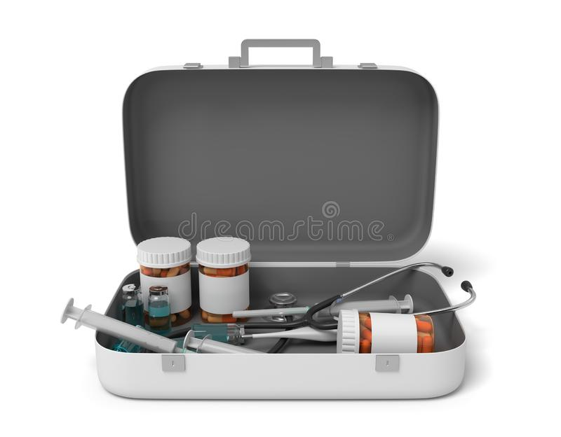3d rendering of opened first aid medical box with pills jars and medical devices isolated on white background royalty free illustration