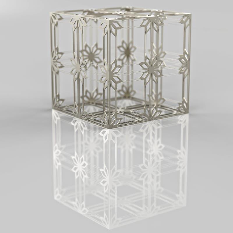3D rendering. Openwork metal cube. vector illustration