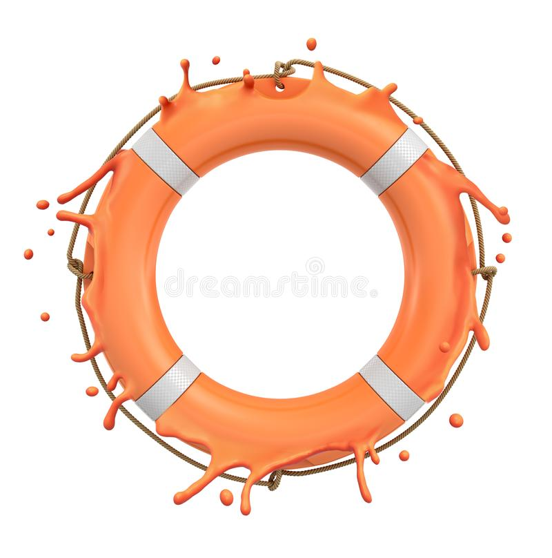 3d rendering of orange lifebuoy ring splashing isolated on white background royalty free illustration