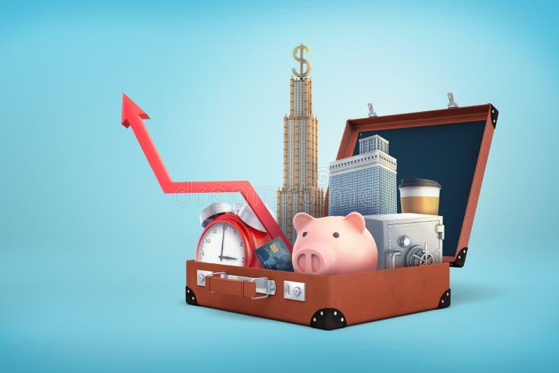 3d rendering otwarta retro walizka trzyma prosiątko banka, drapaczy chmur, skrytki pudełka, kredytowej karty i upwards strzała, ilustracji
