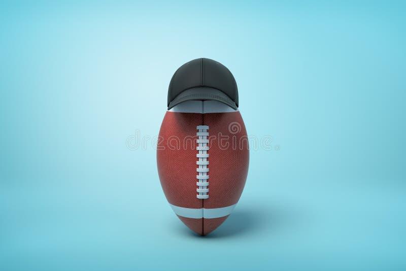 3d rendering owalna piłka dla futbolu amerykańskiego stać pionowy na dobrze jest ubranym czarną nakrętkę na bławym tle ilustracja wektor