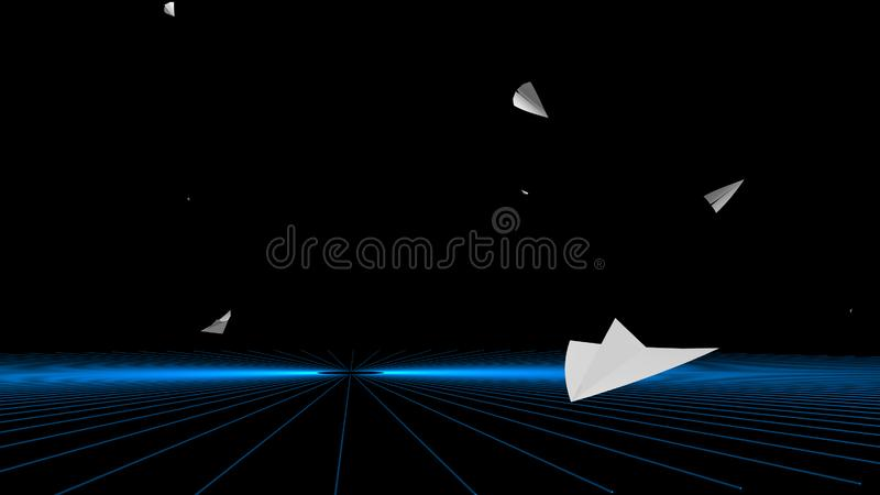 3d rendering of Paper airplane flying on sky background stock photos