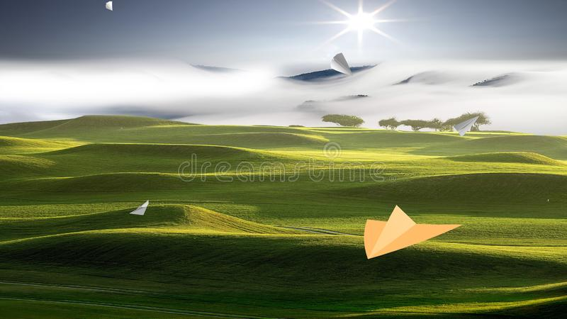3d rendering of Paper airplane flying on sky background royalty free stock photos