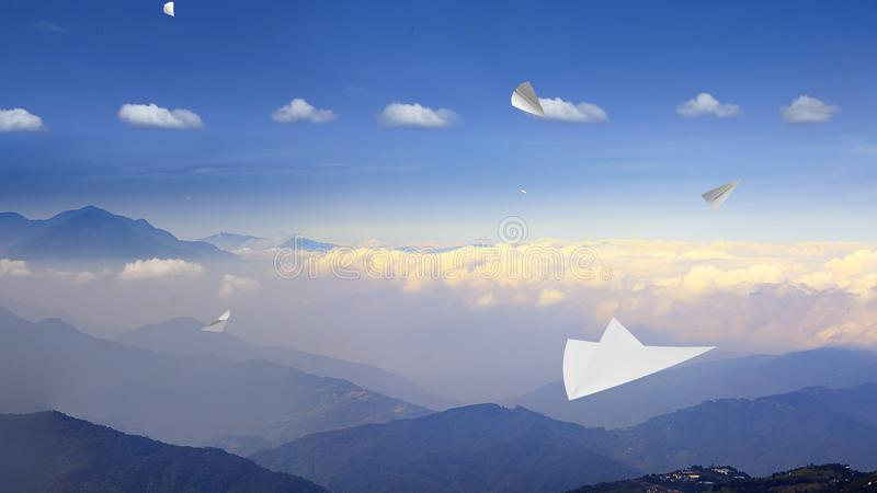 3d rendering of Paper airplane flying on sky background royalty free stock photo