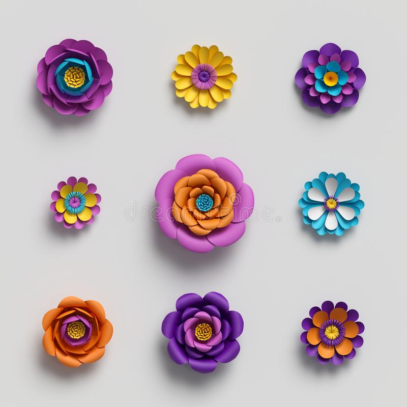 3d render, decorative paper flowers, floral background, botanical pattern, vivid candy colors, vibrant palette, isolated vector illustration
