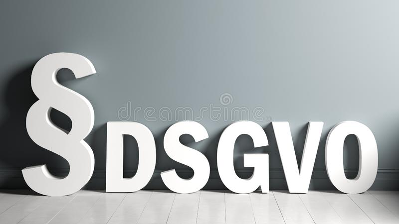 3D rendering of a paragraph symbol and the abbreviation `DSGVO` standing for the German words for `General Data Protection Regulat stock illustration