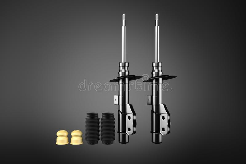 3D rendering. Passenger car Shock Absorber, new auto parts, spare parts. royalty free illustration