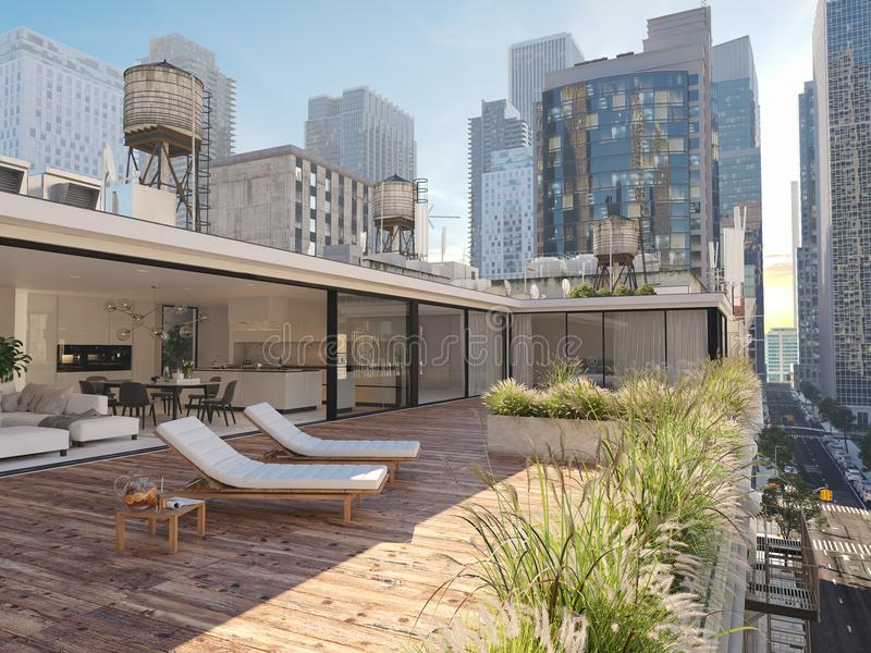 Penthouse terrace in a big city. 3d rendering stock illustration