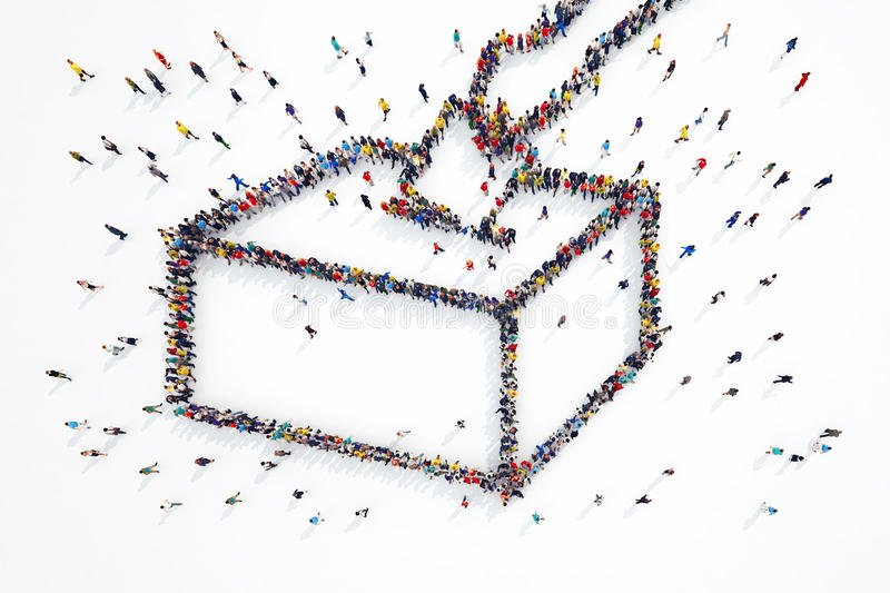 3D rendering of people elections. 3D rendering of people forms elections symbol royalty free illustration