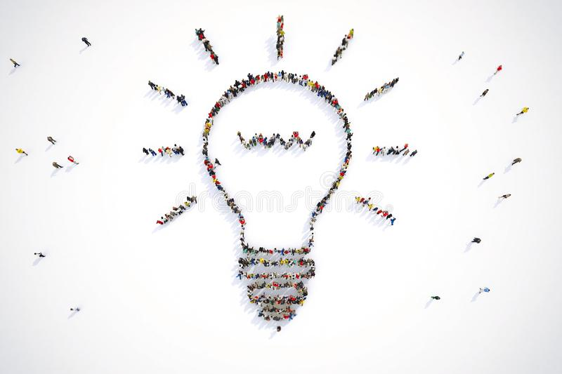 3D Rendering of people forms a bulb light. Group of people forms a bulb light, idea concept. 3D rendering royalty free illustration