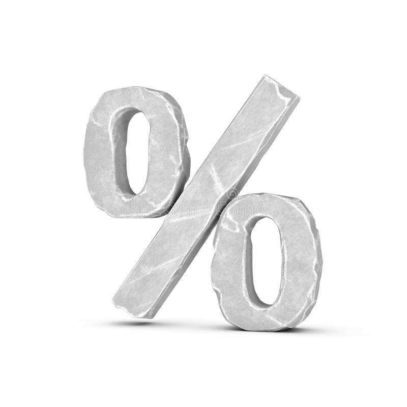 3d rendering of a percent sign made of chapped light-grey marble-like material on a white background. vector illustration