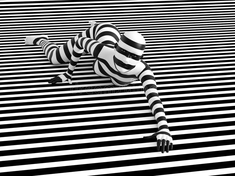 3D rendering of person breaking the pattern. 3D rendering of a woman lying on the floor on a black and white striped background, trying to break out of the mold stock illustration