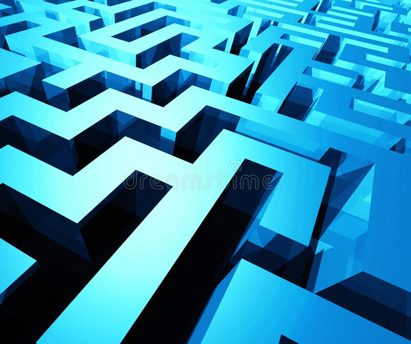 3d rendering Perspective view of an abstract minimal labyrinth stock illustration