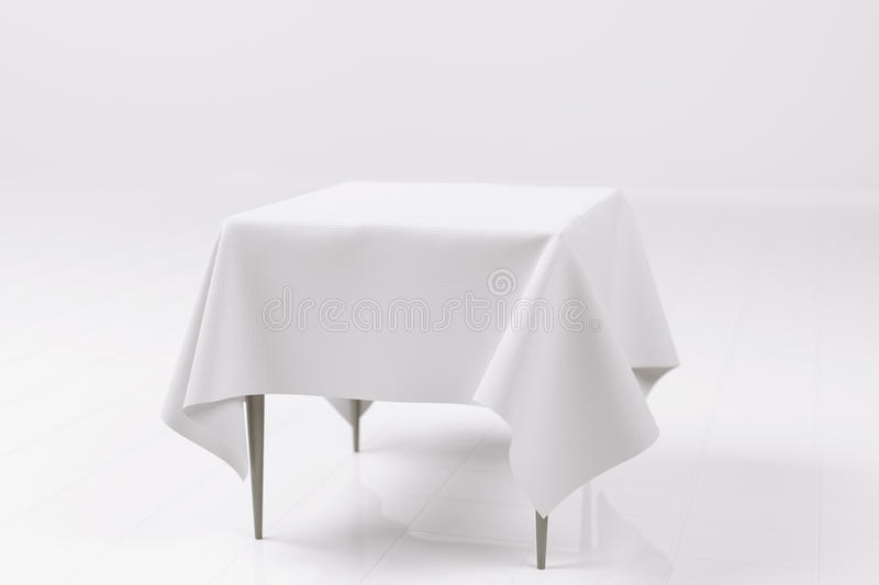 3D Rendering Of A Photo Realistic Empty Table. With White Textured Cloth In A White Room stock illustration