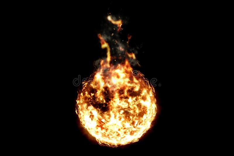 3D rendering, piłka płomienia ogień z dymem w czarnym tle, niebezpieczny płomień royalty ilustracja