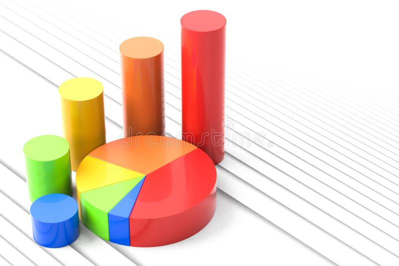Pie chart and bar graph stock illustration