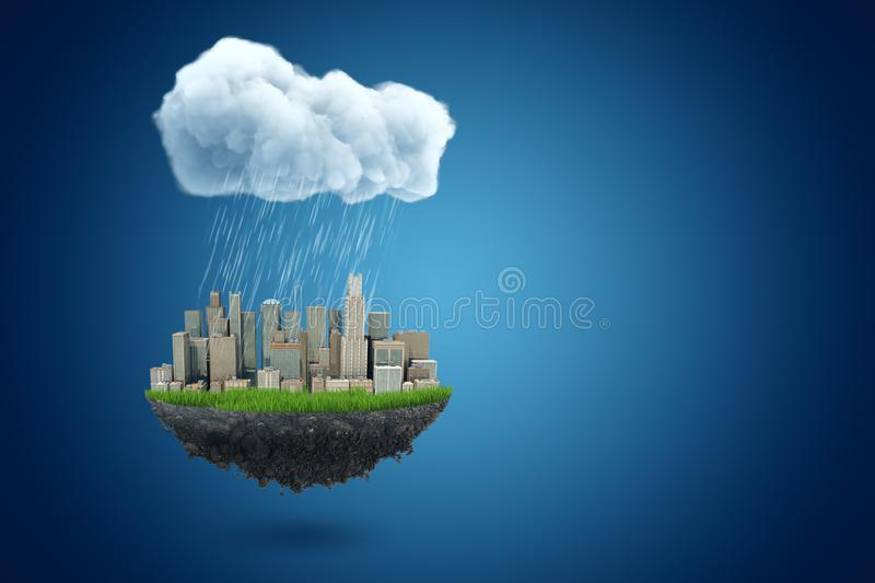 3d rendering of piece of land with modern city on it, suspended in air under big rainy cloud on blue background with royalty free illustration
