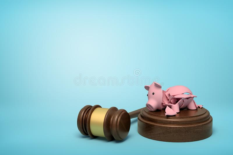 3d rendering of pieces of broken piggy bank lying on sounding block with gavel beside on light-blue background with copy vector illustration