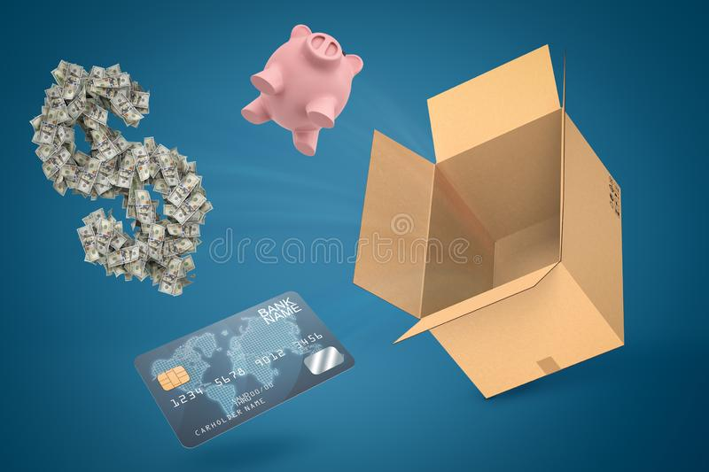 3d rendering of piggy bank credit card and dollar symbol flying out of cardboard box suspended in air against blue stock photos
