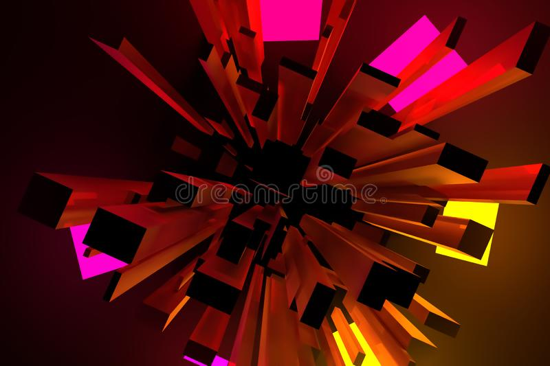 3D rendering. Pillar block or shapre. For graphic design or background, colorful lighting. stock illustration