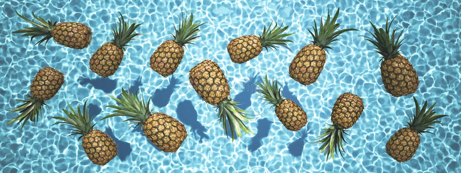 Pineapples swimming in a blue pool. 3d rendering stock photography