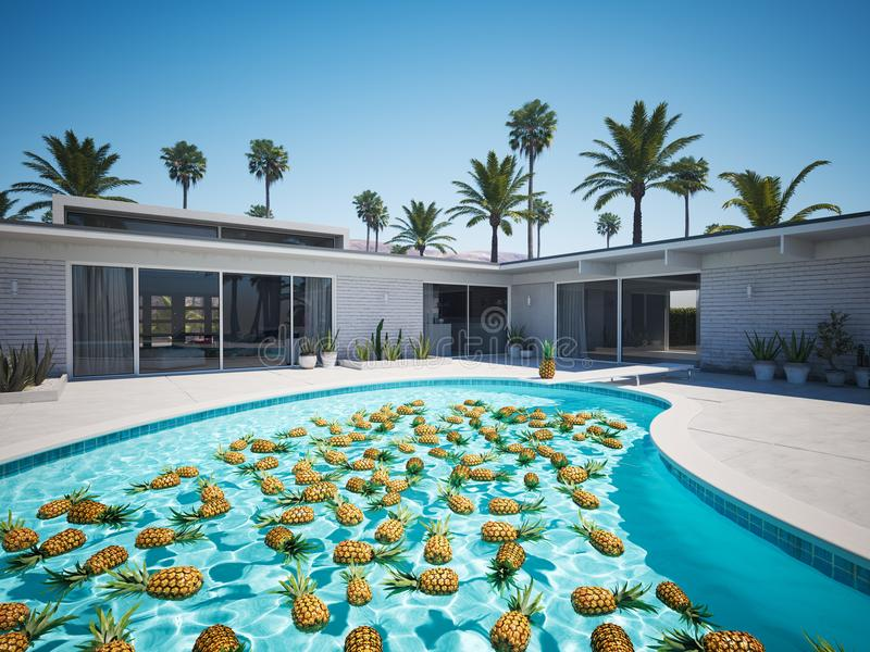 Pineapples swimming in a blue pool. 3d rendering stock illustration