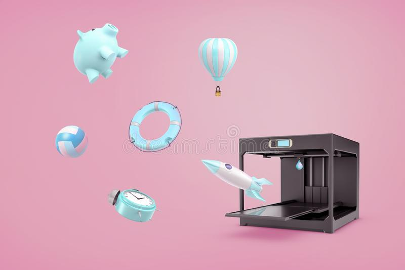 3d rendering of pink background with a 3d printer making a blue piggy bank, an alarm clock, a life buoy and other things royalty free illustration