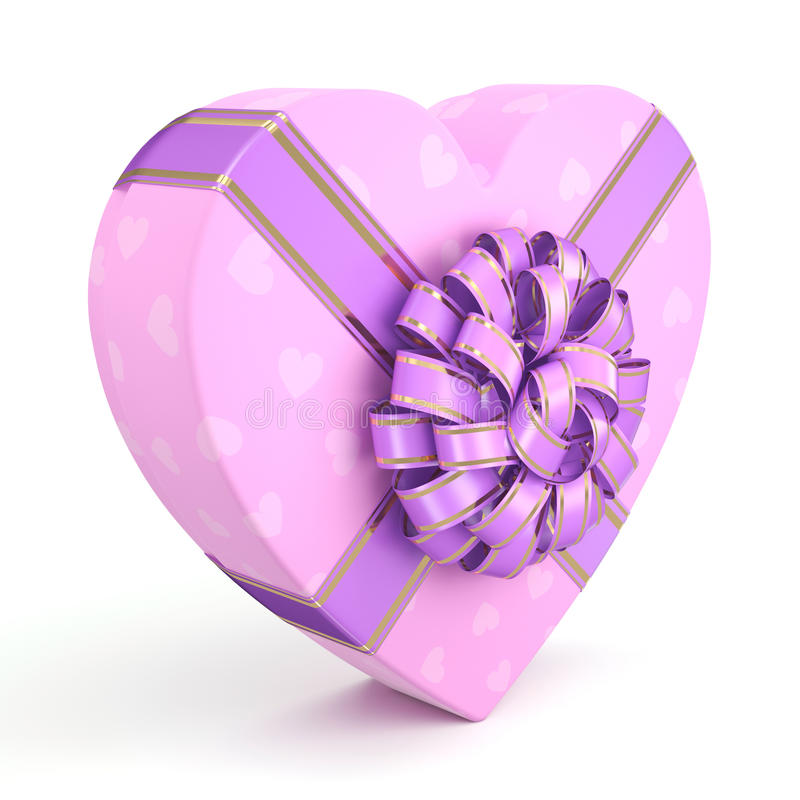 3D rendering Pink box heart. 3D rendering Pink boxe with heart shaped purple ribbon vector illustration