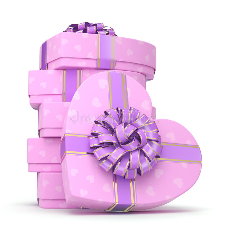 3D rendering Pink boxes heart. 3D rendering Pink boxes with heart shaped purple ribbon stock illustration