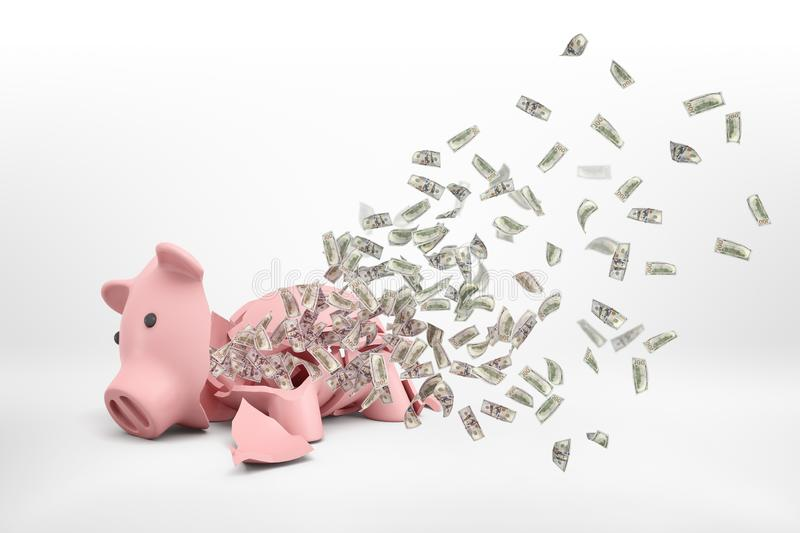 3d rendering of a pink broken piggy bank lying on a white background with many dollar banknotes flying out of it. stock image