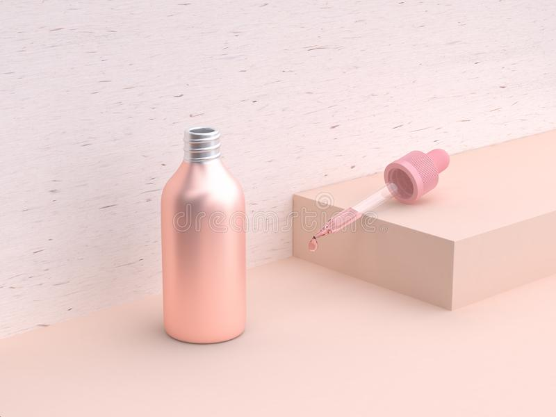3d rendering pink geometric scene metallic pink liquid bottle opening glass tube drop royalty free illustration