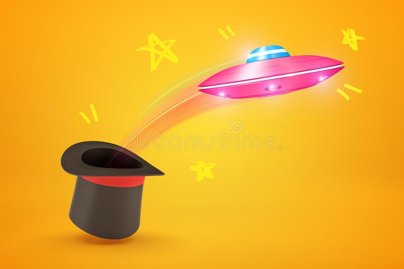 3d rendering of pink metal UFO flying out of black top hat on yellow background royalty free illustration