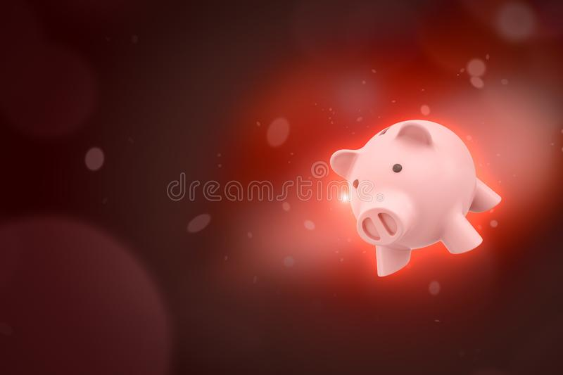 3d rendering of pink piggy bank on gradient bokeh crimson background with copy space. Make money. Save up. Donate to charity royalty free stock images