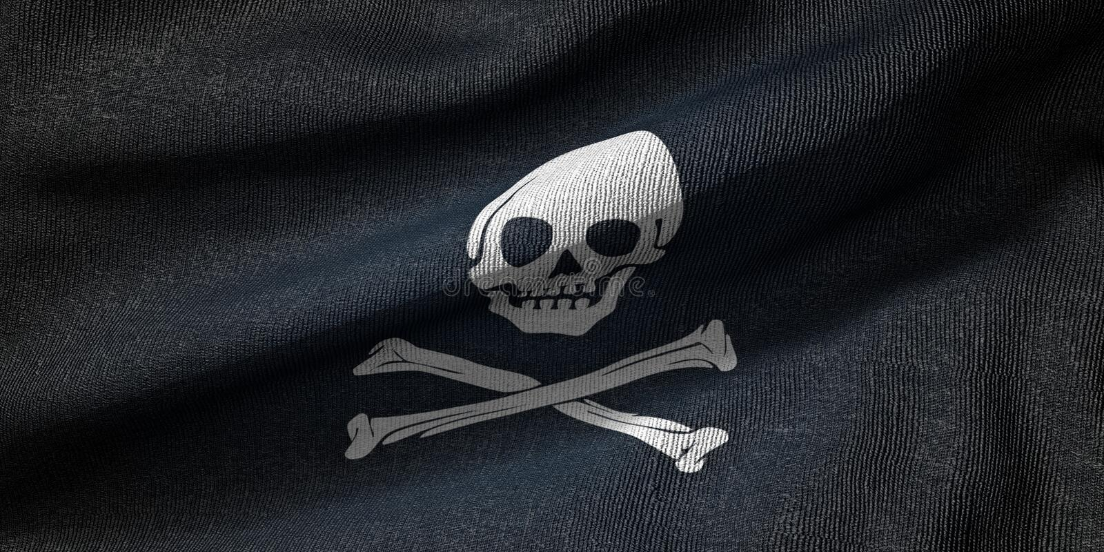 3d rendering of a pirate flag with fabric texture vector illustration