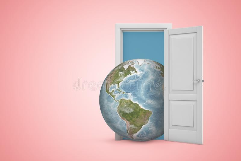 3d rendering of planet Earth emerging from open door on pink copyspace background. Choose future. Care about nature. Promote sustainability stock illustration
