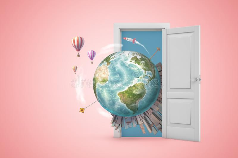 3d rendering of planet Earth with high-rise cities on it, emerging from open door on pink gradient copyspace background. Future outlook. Urbanization. Creative royalty free illustration