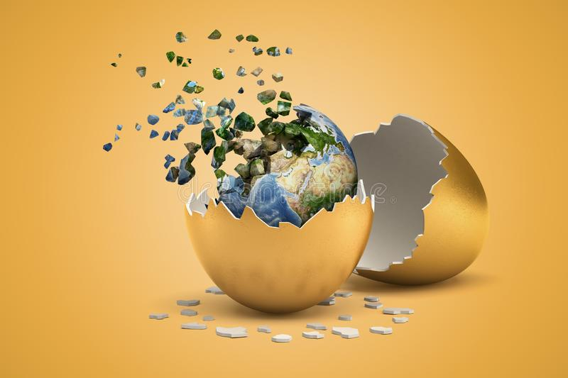 3d rendering of planet Earth which just hatched out from golden egg and is now breaking into small pieces that are. Flying away. Shaping future. Environmental vector illustration