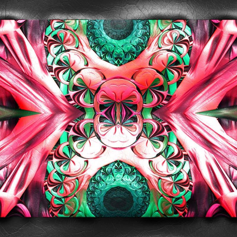 3D rendering of plastic fractal on leather vector illustration