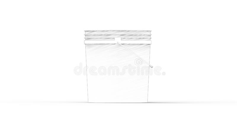 3D rendering of a plastic bucket isolated in white background stock illustration