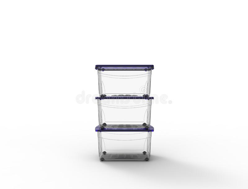 3d rendering of a plastic see through storage box isolated in white background royalty free illustration