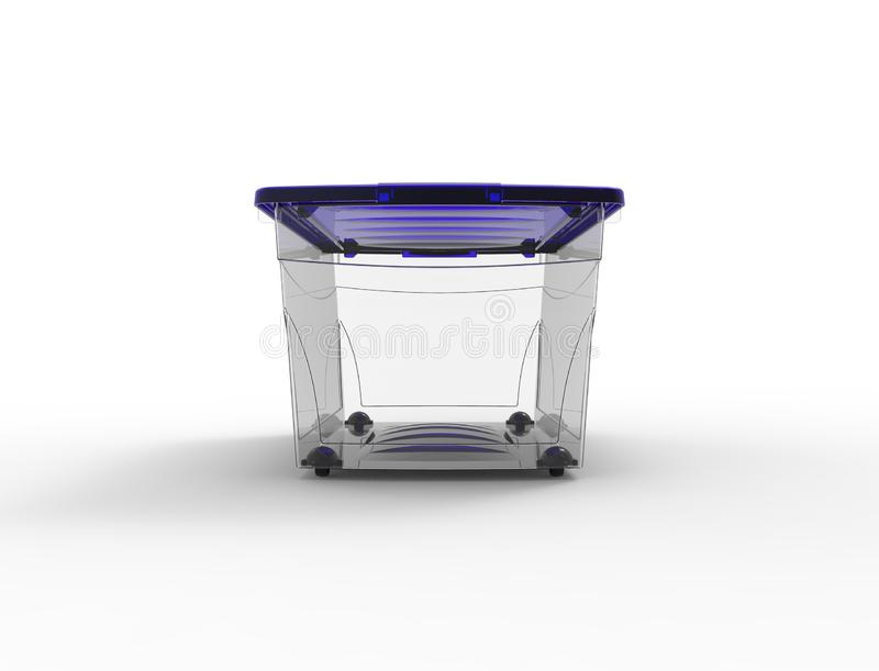3d rendering of a plastic see through storage box isolated in white background vector illustration