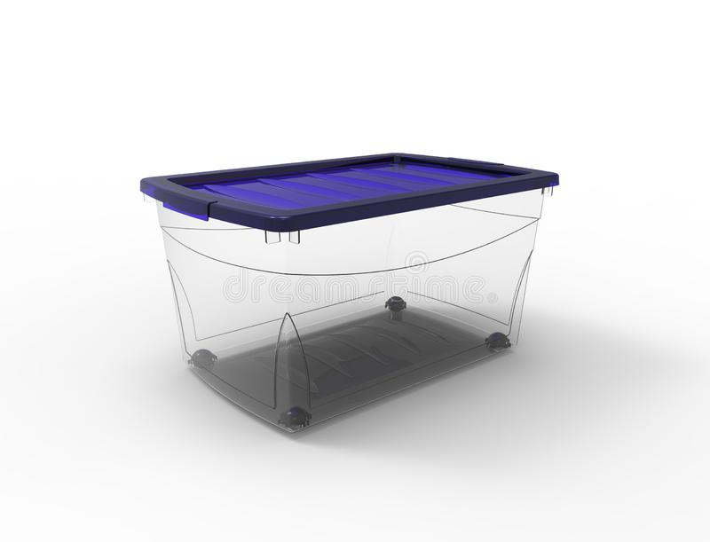 3d rendering of a plastic see through storage box isolated in white background stock illustration
