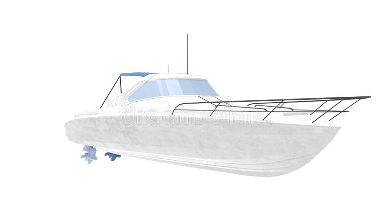 3d rendering of a pleasure boat isolated on white background vector illustration